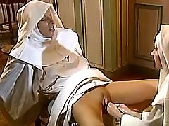 Lesbo nun gets deep double fisting