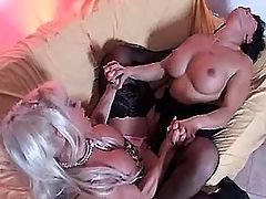 Busty lesbians have fun with dildo