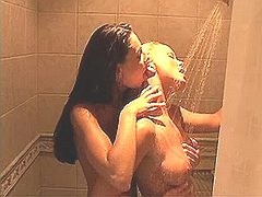 Pretty hot lezzie caresses her body