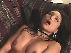 Hot exotic chicks dildoing on sofa