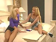 Three hot lesbians dildoing on sofa