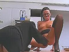 Mature lesbians make love in office
