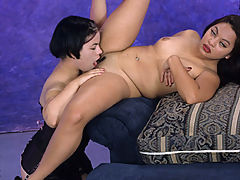 First time for this asian plumper to eat pussy!