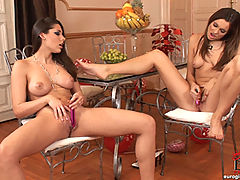 Two hot lesbian babes in stockings